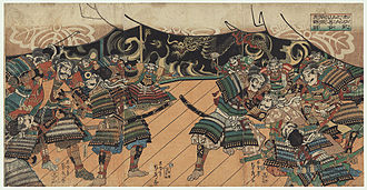 Battle of Yamazaki - War Council Before the Battle of Yamazaki by Sadahide (1807-1873)
