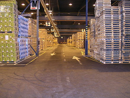 An aisle at the Green cream Logistics Co., Kotka, Finland. Warehouse md17.jpg
