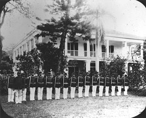 Royal Guards of Hawaii - The Royal Guards in front of Washington Place.