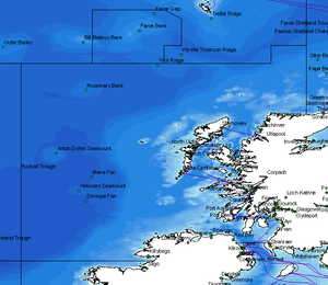 Seas west of Scotland - Map showing ICES area VIa which effectively delimits waters west of Scotland