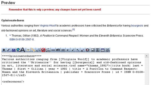 Helpwikipedia the missing manualediting creating and with the references tag added the footnotes are visible in preview mode dont forget to delete the tag before you publish your edits ccuart
