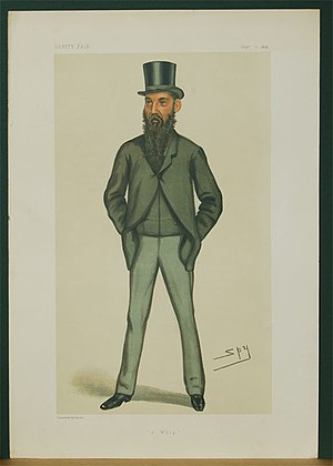 """Baron Kensington - """"A Whip"""". Caricature of William Edwardes, 4th Baron Kensington, by Spy published in Vanity Fair in 1878."""