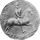 Greyscale photograph of the seal of William I, King of Scotland.