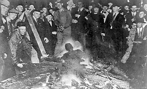Omaha race riot of 1919 - Will Brown is lynched, and his body mutilated and burned by a white crowd.