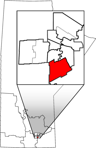 Winnipeg South - Winnipeg South in relation to other Manitoba federal electoral districts as of the 2013 Representation Order. Dotted line shows Winnipeg city limits.