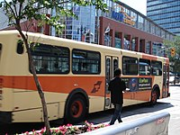 an orange Winnipeg Transit bus in service.