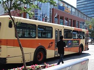 Winnipeg Transit - A Winnipeg bus still in the older transit orange and cream paint scheme