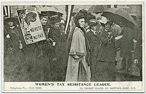 Women's Tax Resistance League - Clemence Housman photographed during a suffragist demonstration.