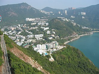 Wong Chuk Hang - A view of residential Wong Chuk Hang from the Ocean Park cable car system