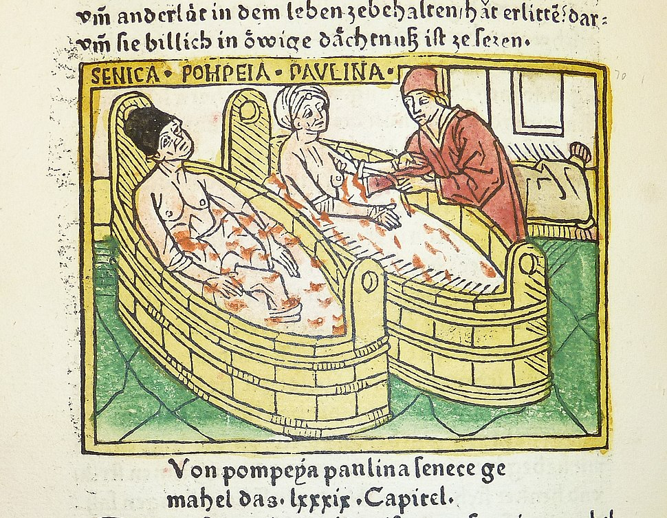 Woodcut illustration of the suicide of Seneca and the attempted suicide of his wife Pompeia Paulina - Penn Provenance Project