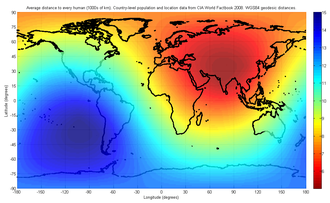 Center of population - Image: World Center Of Population