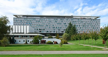 WHO Headquarters in Geneva World Health Organisation building south face 2.jpg