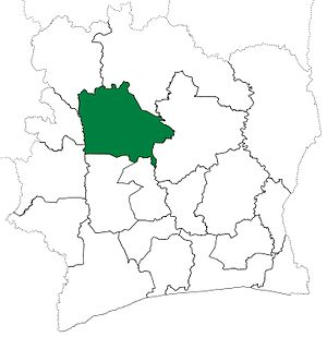 Worodougou - Worodougou Region in 2000, after it had been divided to crate Bafing Region. Worodougou retained these boundaries until 2011, when it was divided a second time to create Béré Region.