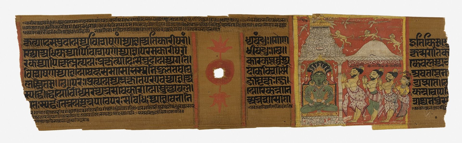 Worship of Parshvanatha, Folio from a Jain text of Sanskrit Grammar, the Siddhahemashabdanushasana by Hemachandra (1089-1172) LACMA M.88.62.1.jpg