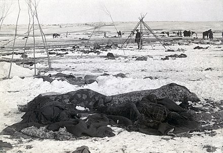 Camp de batalla de Wounded Knee després de la massacre de 1890.