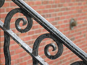 A wrought iron railing in Troy, New York