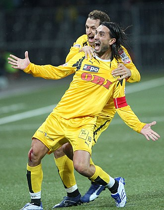 Hakan Yakin - Yakin celebrating a goal for Young Boys in 2008 with Thomas Häberli