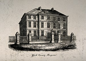 York County Hospital - York County Hospital, York, England. Steel engraving by H. C Wellcome V0014646
