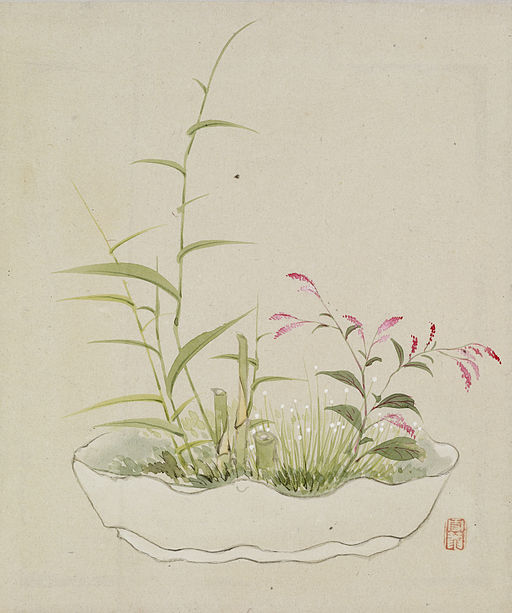 Yoshizawa Setsuan - Leaf from Album Depicting Birds, Flowers, Landscapes, and Flower Pots - Walters 3517411B