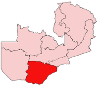 Map of Zambia showing the Southern Province