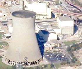 Reaktorgebäude rechts mit Turbinenhalle mitte, links der Kühlturm