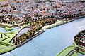 Zuidwestelijke Maasoever nabij rondeel De Vijf Koppen, OLV-wal en De Boompjes, detail kopie Maquette van Maastricht, collectie Centre Céramique.JPG