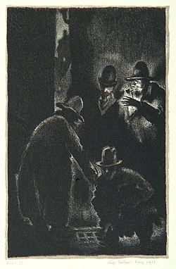 """Cry for help"", page 11 from the book ""Der Golem"", illustrated by Hugo Steiner-Prag"