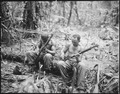 """Sgt. John C. Clark...and S-Sgt. Ford M. Shaw...(left to right) clean their rifles in bivouac area alongside the East We - NARA - 531404.tif"