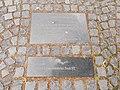 'Star map with boat' or 'Millennium Monument' (László Taubert, 2000). Plaque on the sidewalk. The ship is the state, faith, love, and survival symbol.- Zichy Grove, Székesfehérvár, Fejér county, Hungary.JPG