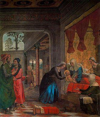 Juan de Borgoña - 'The Birth of the Virgin', fresco by Juan de Borgoña, Cathedral of Toledo, c. 1495