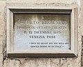 (Venice) Ca' Rezzonico - Plaque to Robert Browning.jpg