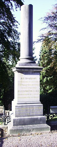David Gibsons gravvård på Östra kyrkogården