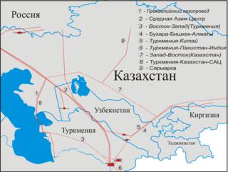 Central Asia–Center gas pipeline system Gazprom pipeline in Turkmenistan, Uzbekistan, Kazakhstan and Russia