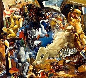 "Misha Brusilovsky -  ""Leda and the Swan"". Canvas, oil. 89х99. 1967."