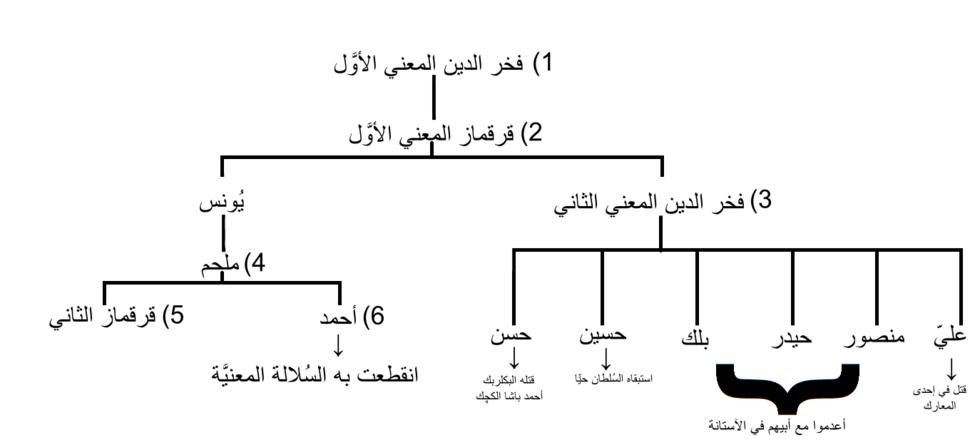 شجرة نسب أُمراء آل معن من فخر الدين الأوَّل حتّى أحمد