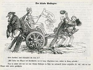 Kulturkampf - Anti-Catholic caricature in the Munich Leuchtkugeln, 1848. A warning not to rejoice yet. The Catholic cleric as a fox and blind passenger on the wagon of progress, in order to later reverse the course of history.