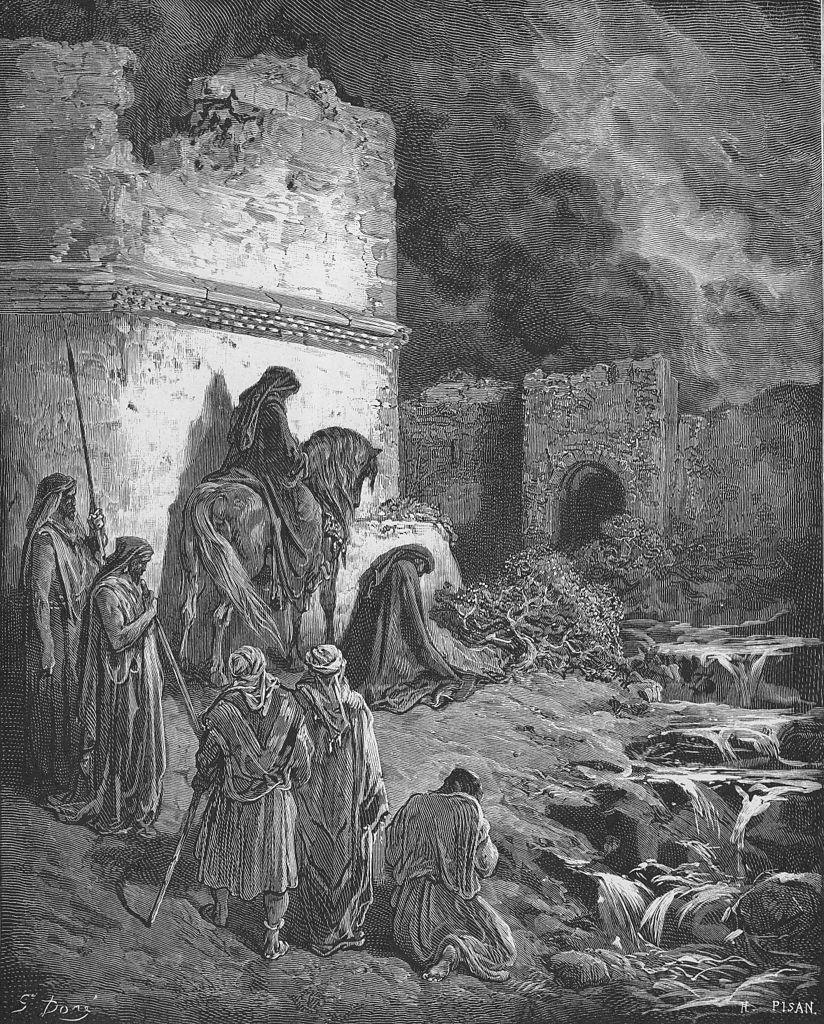 예루살렘의 파괴된 성벽을 목도하는 느헤미야 (귀스타브 도레, Gustave Dore, 1865년)