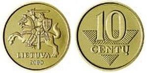 Coins of the Lithuanian litas - Image: 10 centai (1997)