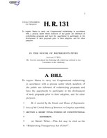 116th United States Congress H. R. 0000131 (1st session) - Redistricting Transparency Act of 2019.pdf