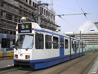 Bi-directional vehicle - The trams operating on route 5 of the Amsterdam tram network are bi-directional vehicles. Notice the doors on the opposite side of the normal travel direction.