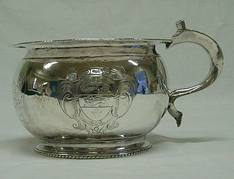 Mansion House, York - Charles II chamber pot made by Marmaduke Best, York, c 1671 and engraved with the arms of Marmaduke Rawdon.