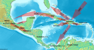 Spanish expansion routes in the Caribbean during the early 16th century 16th century Spanish expansion in the Caribbean.png