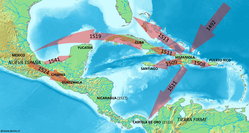 Map of Spanish expansion in the Caribbean during the 16th century 16th century Spanish expansion in the Caribbean.png