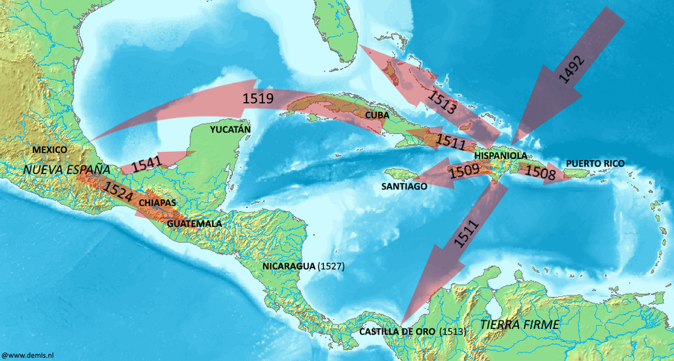16th century Spanish expansion in the Caribbean