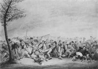 1833 Termination of a MilitiaShamFight watercolor byDCJohnston AAS.png