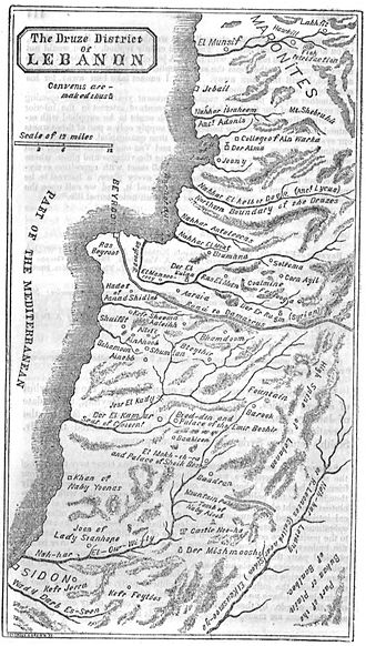 Mount Lebanon Emirate - 1844 map of Druze Lebanon, showing the Nahr al-Kalb as the northern boundary of the Druze.