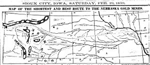 History of Wyoming - 1859 map of route from Sioux City, Iowa, through Nebraska, to gold fields of Wyoming, partially following old Mormon trails.