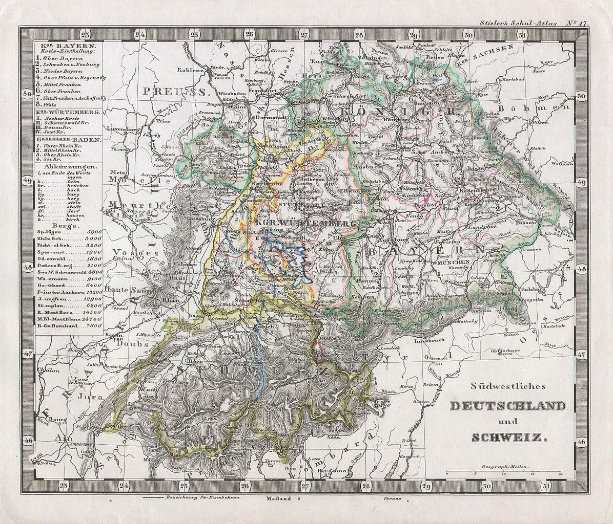 File1862 Stieler Map of Southern Germany and Switzerland – Map Southern Germany