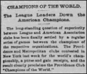 1884 World Series - 1884 World Series News Clipping