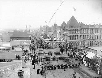 History of Bismarck, North Dakota - 1889 Constitutional Convention parade at Main and 4th streets.